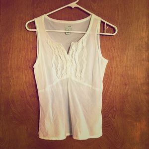 Anthropologie Odille white ruffle front blouse